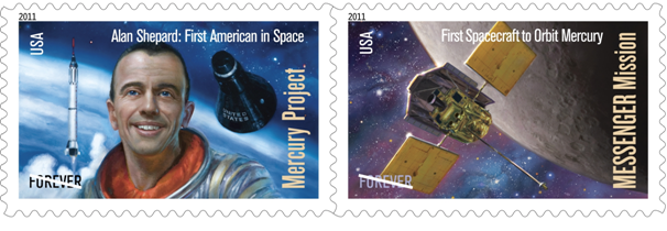 "Image: Postage stamps feature two ""Mercury"" projects. -- USPS"