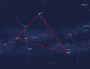 Image: Map depicting summer's triangle of stars.
