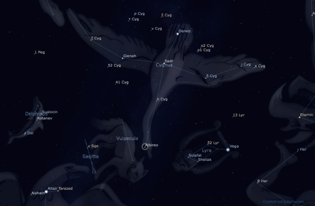 Image: Star chart showing constellation Cygnus.