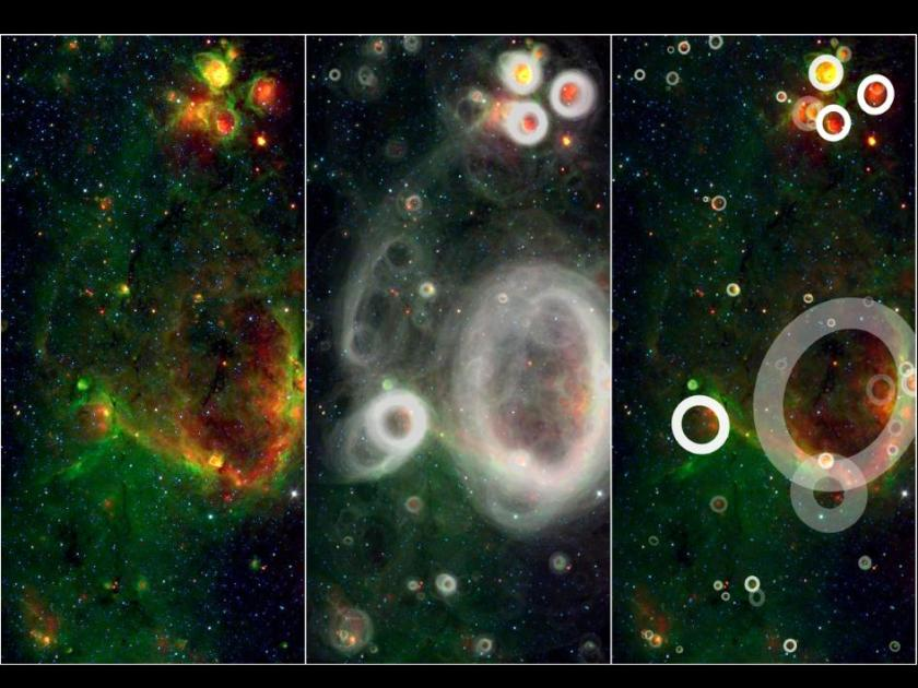 Photo: Stellar bubbles detected by people! Image credit: NASA/JPL-Caltech/Oxford University