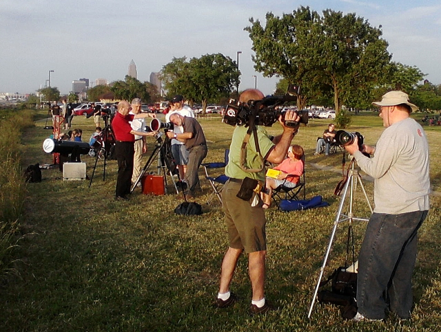 Photo: Observers setting up to see partial eclipse of the Sun. Photo by Tim Campbell.
