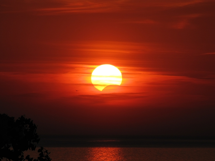 Photo: Partial Eclipse at Sunset, May 20, 2012. By Dianna Lewis.