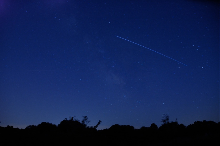 Photo: Starry background with streaking space station trail 8-6-2012. Credit: Dave Nuti.