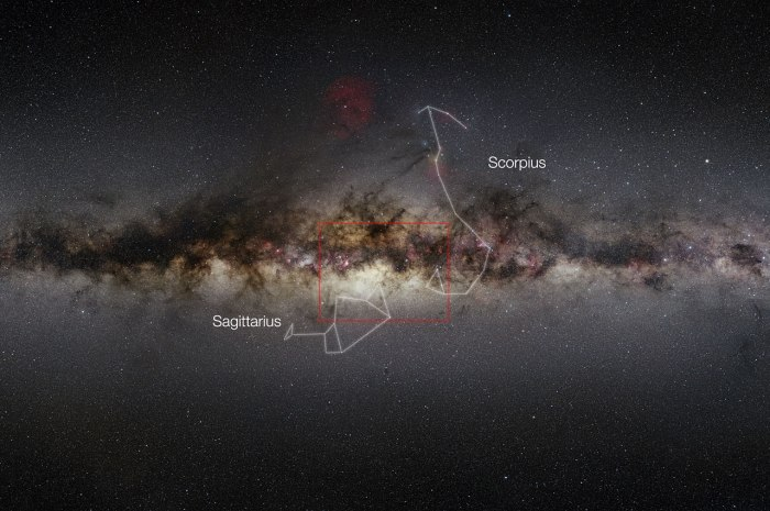 Photo: Center of the Milky Way with VISTA region indicated. ESO/Nick Risinger (skysurvey.org)