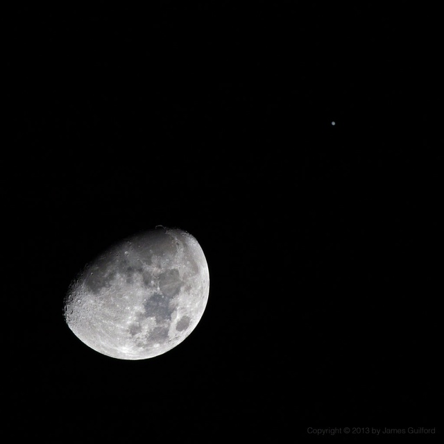 Photo: Moon and Jupiter in close conjunction, January 21, 2013. Photo by James Guilford.