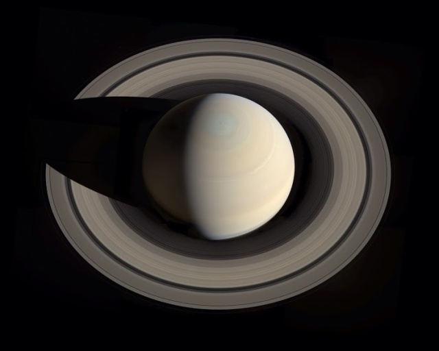Photo: Image of Saturn from above a polar region.  Credit: NASA/JPL-Caltech/Space Science Institute/G. Ugarkovic