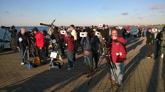 Photo: Observers at Voinovich Park, by Jay Reynolds.