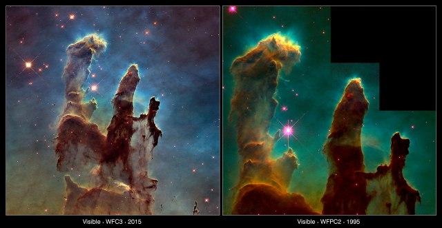 Photos: The Pillars of Creation, New and Old. Credit: NASA, ESA/Hubble and the Hubble Heritage Team