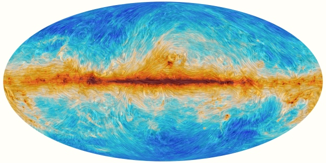 Image: Polarized Emission from Milky Way Dust. Credit: ESA and the Planck Collaboration