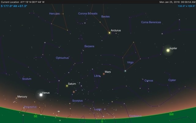 Illustration: Five Planets Visible in the Pre-Dawn Sky