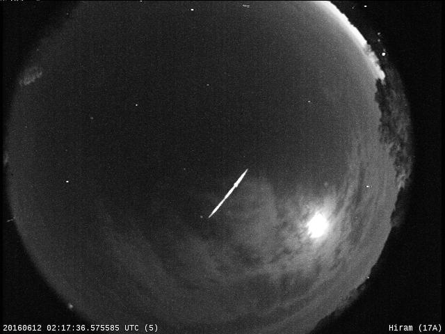 Photo: June 11, 2016 Meteor Track - Credit: NASA