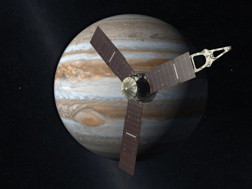 Image: Launching from Earth in 2011, the Juno spacecraft will arrive at Jupiter in 2016 to study the giant planet from an elliptical, polar orbit. Image credit: NASA/JPL-Caltech