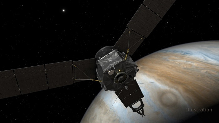 Image: This illustration depicts NASA's Juno spacecraft at Jupiter, with its solar arrays and main antenna pointed toward the distant sun and Earth. Image Credit: NASA/JPL-Caltech