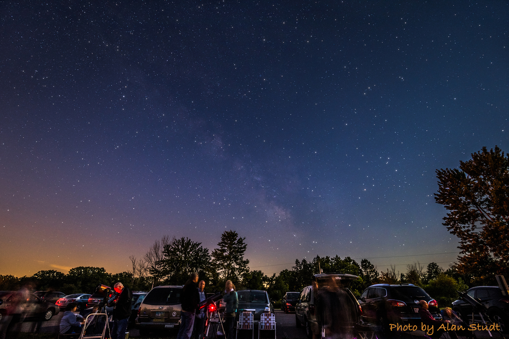 Photo: Astronomers with their telescopes. Photo by Alan Studt.