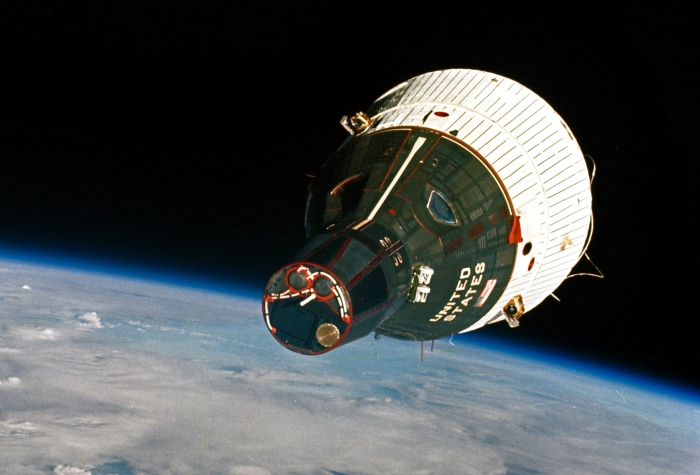 Photo: Gemini 7 Spacecraft as seen from Gemini 6. Image Credit: NASA