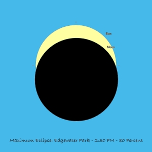 Image: Eclipse at Maximum - Edgewater Park, Ohio, August 21, 2017 - SkySafari 5 Simulation