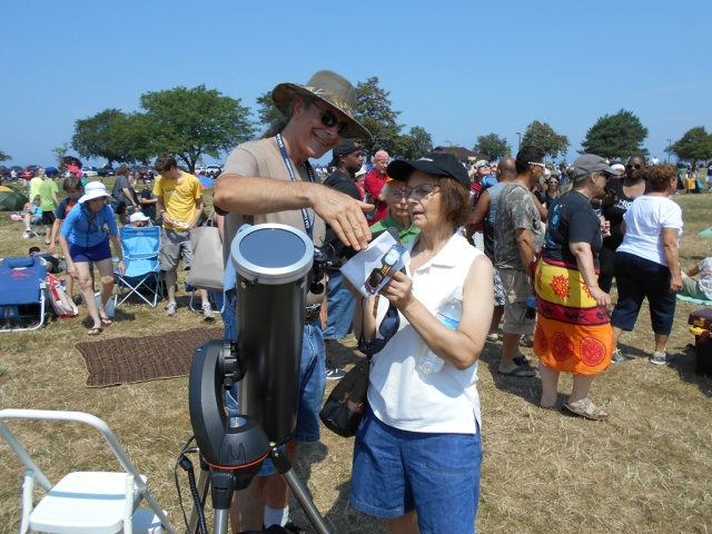 Photo: Smart Phone held to Eyepiece. Credit: Nancy Whisler