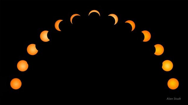 Photo: Partial eclipse progression. Credit: Alan Studt