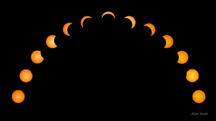 Photo: Partial eclipse progression. Credit: Alan Studt