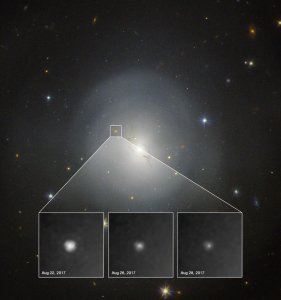 Photo: Kilonova observed. Credit: NASA and ESA. Acknowledgment: A.J. Levan (U. Warwick), N.R. Tanvir (U. Leicester), and A. Fruchter and O. Fox (STScI)