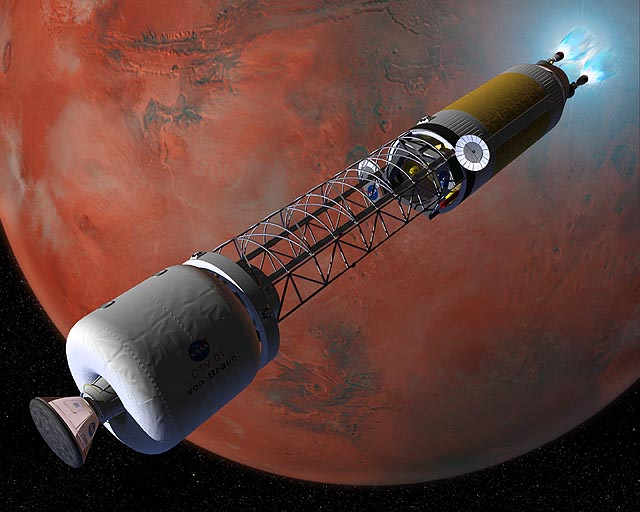 Artist's Concept: Nuclear Rocket at Mars. Credit: NASA