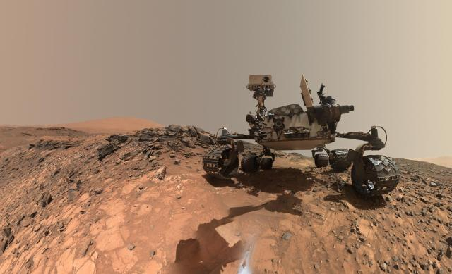 "This low-angle self-portrait of NASA's Curiosity Mars rover shows the vehicle at the site from which it reached down to drill into a rock target called ""Buckskin"" on lower Mount Sharp. Image Credit: NASA/JPL-Caltech/MSSS"