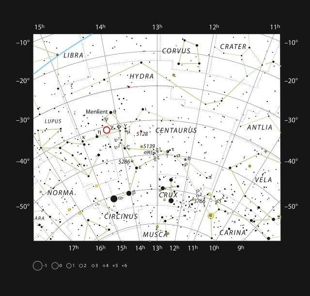 Image: This chart shows the southern constellation of Centaurus and marks most of the stars visible to the unaided eye on a clear dark night.  The dwarf star PDS 70 is marked with a red circle. Credit: ESO, IAU and Sky & Telescope