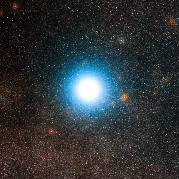Photo: This wide-field view of the sky around the bright star Alpha Centauri was created from photographic images forming part of the Digitized Sky Survey 2. The star appears so big just because of the scattering of light by the telescope's optics as well as in the photographic emulsion. Alpha Centauri is the closest star system to the Solar System.