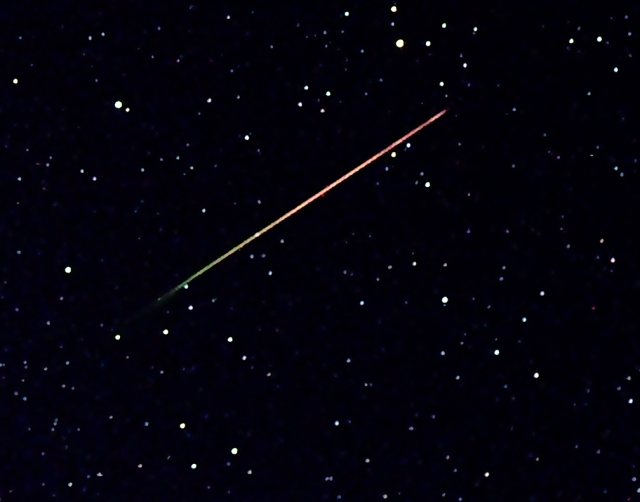 Photo: Singular Streak: A close-up view of a Perseid as it passed through constellation Cassiopeia Sunday morning. Photo Credit: John D. Burkett.