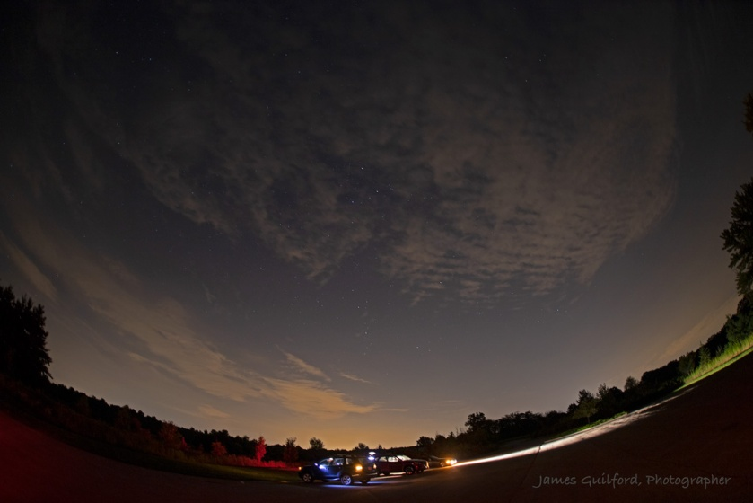 Photo: The night wasn't stellar Saturday for the 2018 Perseids Meteor Shower as viewed from Letha House Park West, Medina County. This fisheye view of observers leaving at 12:35 AM. Photo Credit: James Guilford.