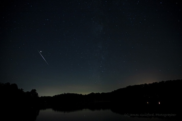 Photo: Sword of Mars: A Perseid fireball meteor streaks past the brilliant planet Mars in the skies over Findley State Park, Wellington, August 12, 2018, 1:03 AM. Photo Credit: James Guilford.