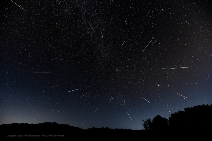 Photo: Perseids Composite: Images combined to show 22 meteors viewed from Salt Fork State Park, Ohio. Photo Credit: Frank Shoemaker.