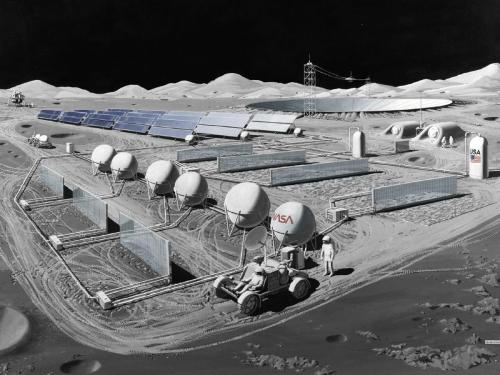 Image: Solar cells power a moon base and the surface mining operations. (Artist's concept by Pat Rawlings of SAIC for NASA/Lewis)