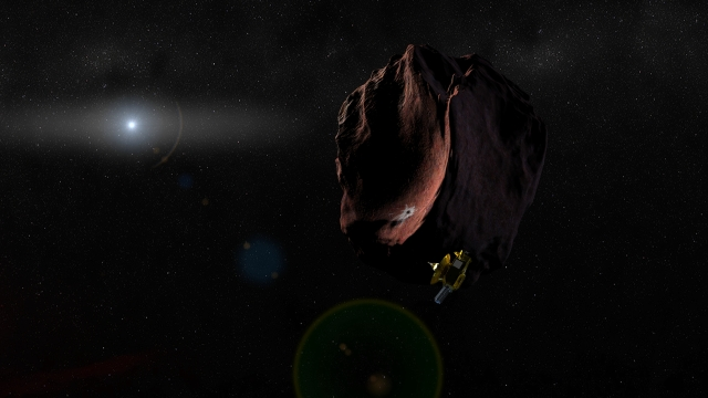Image: Artist's impression of the New Horizons spacecraft encountering a Kuiper Belt Object.