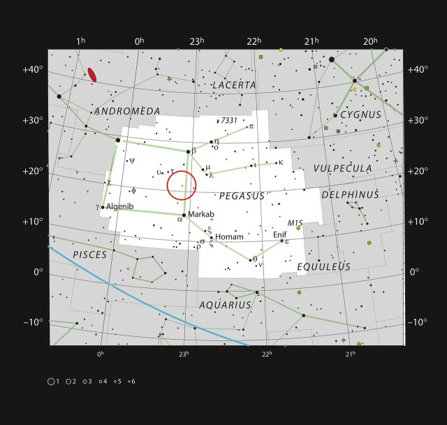 Image: This chart shows the constellation of Pegasus, which depicts a winged horse from Greek mythology. The chart shows the location of HR8799 and marks most of the stars visible to the unaided eye on a clear dark night. The constellation is familiar to stargazers as it contains three of the four stars that make up the bright asterism known as the Square of Pegasus, used to locate various objects in the sky. The constellation also contains multiple deep-sky objects of interest to astronomers, including the gravitationally lensed quasar known as Einstein's Cross.