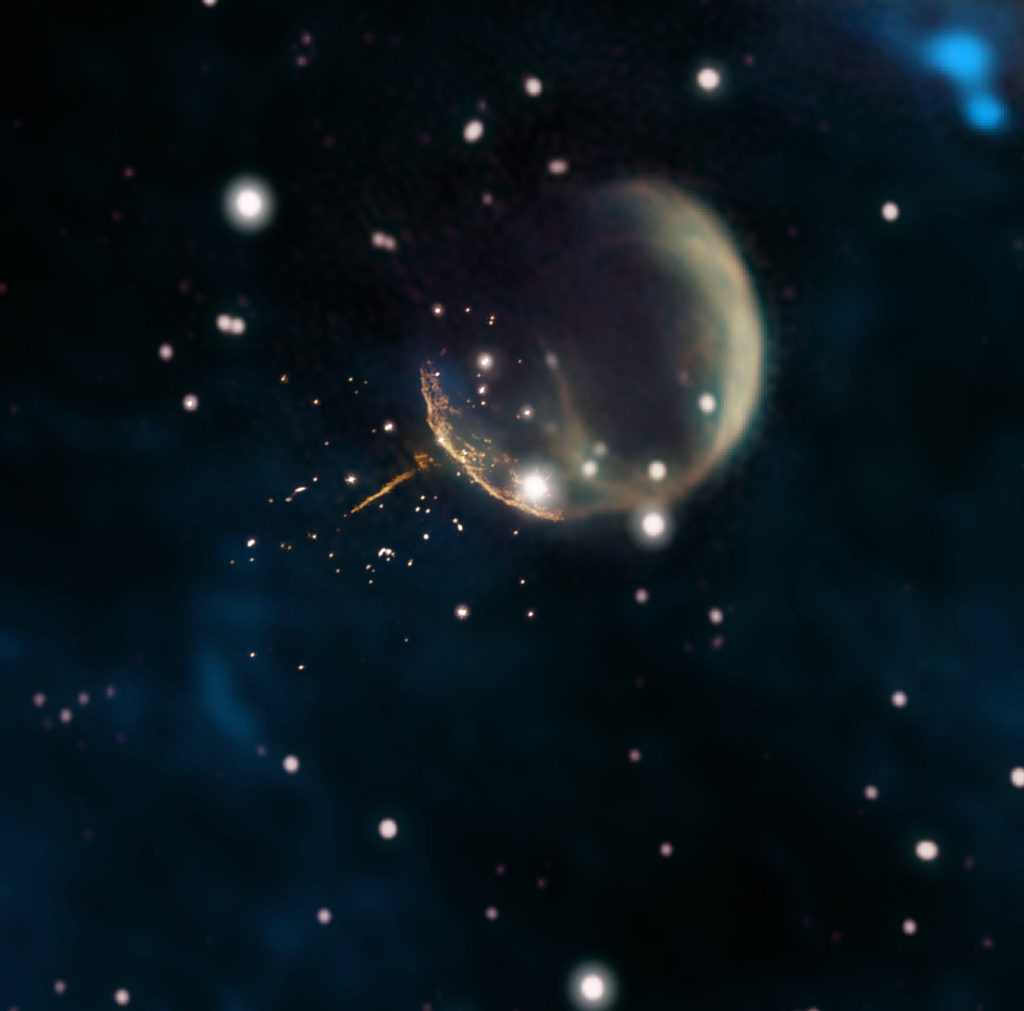 """Image: Pulsar ejected from expanding """"bubble"""" of supernova remnant."""