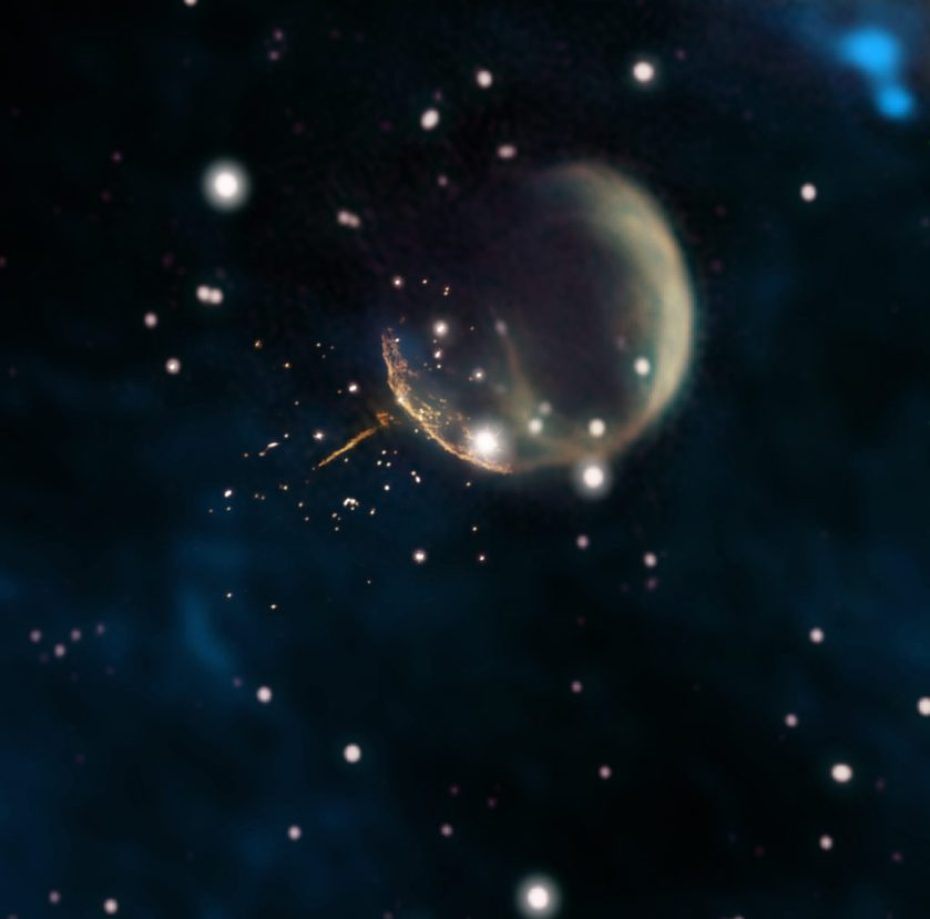 "Image: Pulsar ejected from expanding ""bubble"" of supernova remnant."