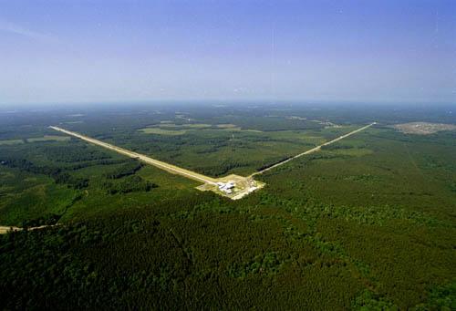 Photo: Aerial view of the LIGO detector in Livingston, LA. Image Credit: LIGO