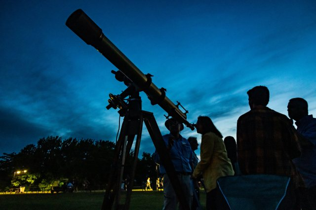 Photo: Telescope silhouetted. Photo by Alan Studt.
