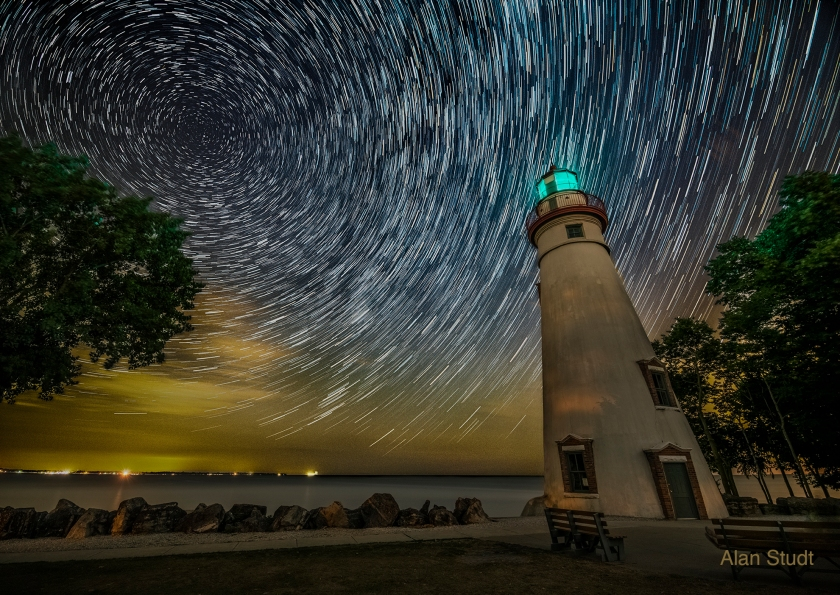 Marblehead Light with Star Trails. Photo by Alan Studt.