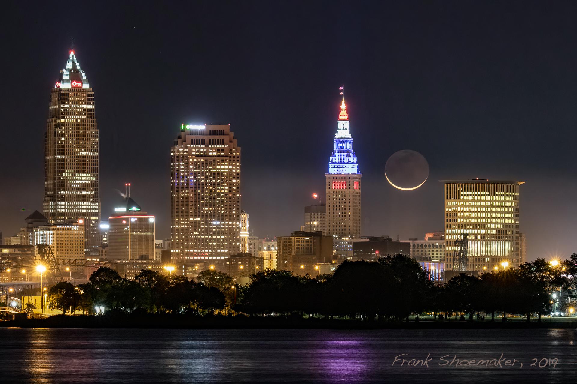 Image: Moonrise over Cleveland. Credit: Frank Shoemaker.