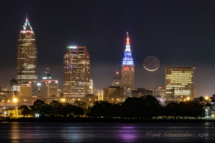 Image: Moonrise over Cleveland. Credit: Frank Shoemaker.