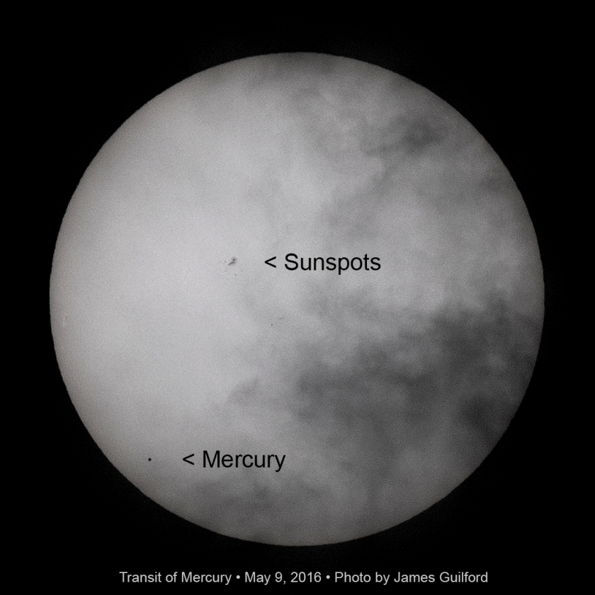 Photo: 2016 Transit of Mercury. Photo by James Guilford