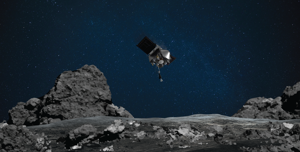 This artist's rendering shows OSIRIS-REx spacecraft descending towards asteroid Bennu to collect a sample of the asteroid's surface. Image Credit: NASA/Goddard/University of Arizona