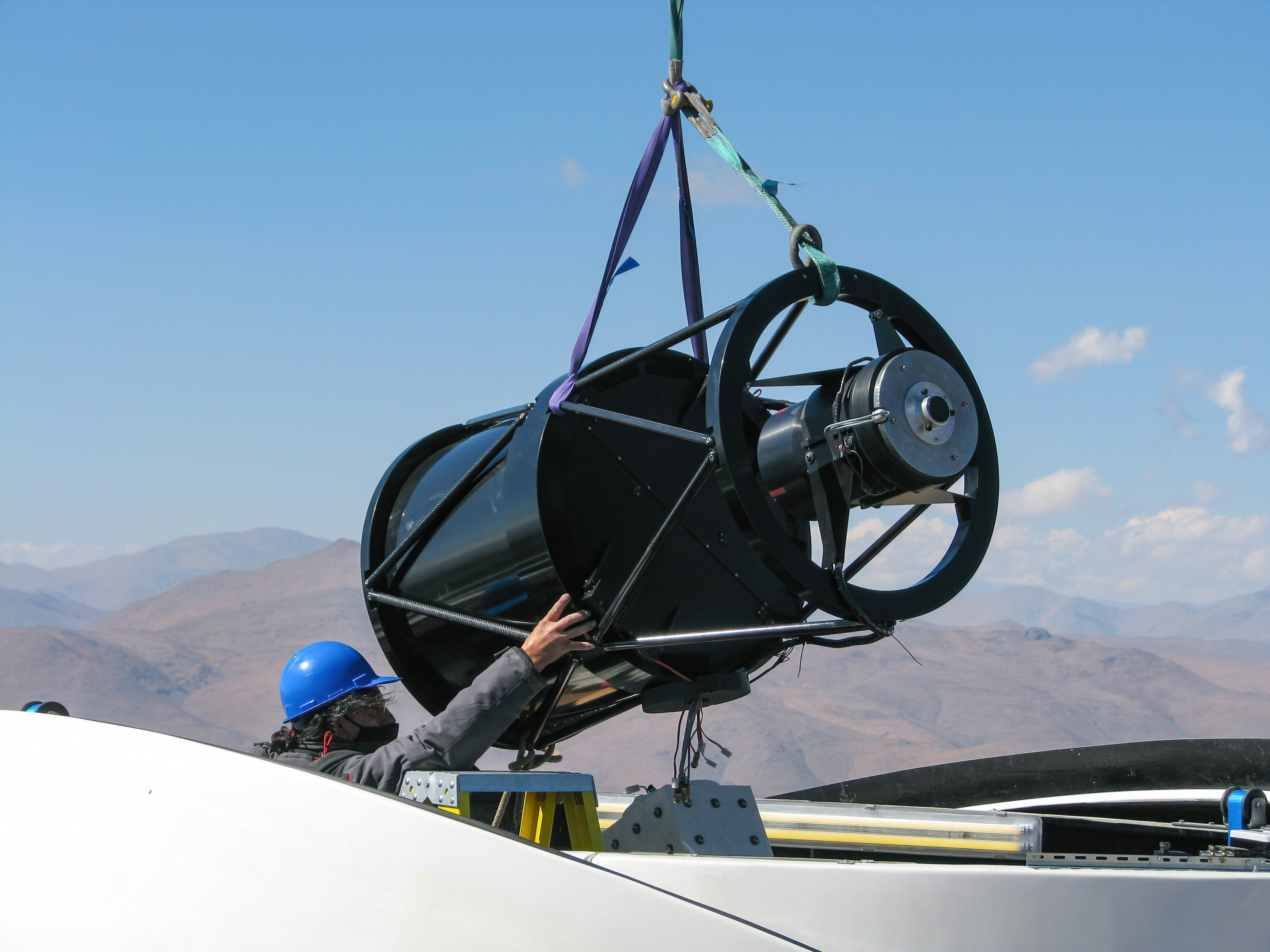 Guiding the structure of the Test-Bed Telescope 2 into place